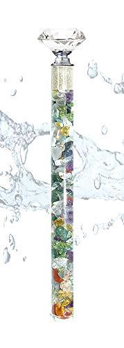 Edelsteinstab Wasserstab Positive Power mit Rohdiamanten