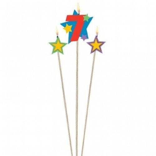 3Cumpleaños velas estrellas Número 7