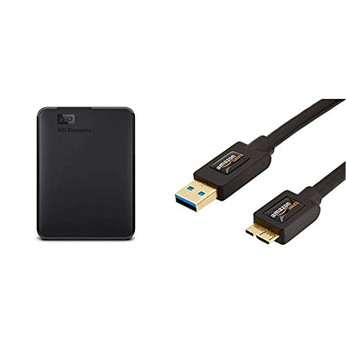 WD Elements Portable, Externe Festplatte - 2 TB - USB 3.0 - WDBU6Y0020BBK-WESN & AmazonBasics USB 3.0-Kabel (A-Stecker auf Micro-B-Stecker) 1,8 m (Abwärtskompatibilität zu USB 2.0 und 1.1)