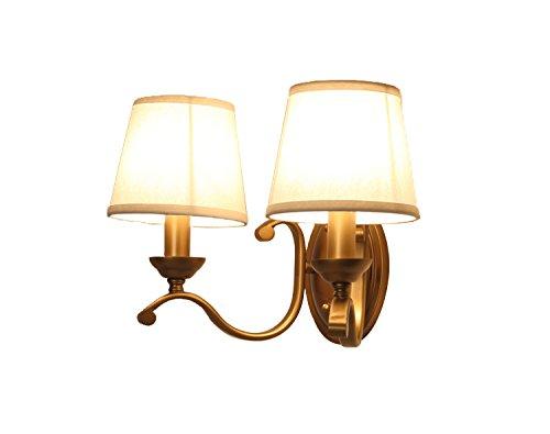 Chen Style américain style rétro Lampshade lit de chevet chambre salon lampe murale en cuivre (taille : 42 * 29cm)