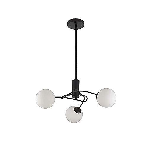 Lustre de plafond en métal industriel vintage, lumière pendante de haricot magique de boule de verre moderne, tour suspendu de branche de campagne pour l