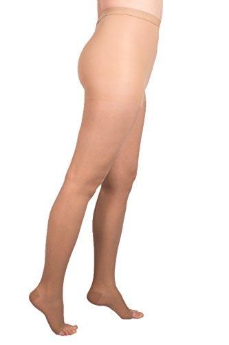 EvoNation Women's USA Made Open Toe Compression Pantyhose 20-30 mmHg Firm Pressure Medical Quality Ladies Waist High Sheer Support Stockings - Best Circulation Panty Hose (Medium, Tan Beige Nude)