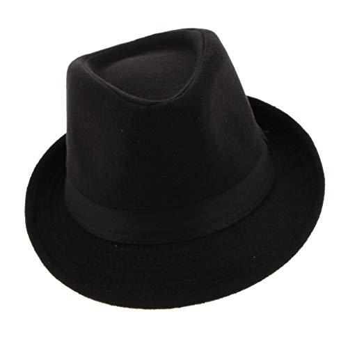 Baoblaze Sombrero de Fieltro Ala Corta Casquilla Plano de Fedora Regalo para Hombres Caballeros - Negro, como se describe