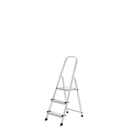 Oryx 23010001 Escalera Aluminio 3 Peldaños Plegable, Uso doméstico, Antideslizante, Ligera y Resistente