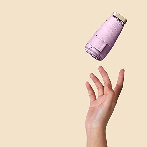 Ziayai Sombrilla Mini 6 Descuento Sombrilla Pequeña Parasol UV Paraguas plegable Soleado y lluvioso Doble uso Creativo Bolsillo Paraguas Resistente al Viento Compacto Ligero