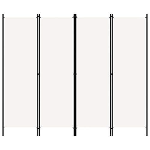 vidaXL Raumteiler Klappbar Freistehend Trennwand Paravent Umkleide Sichtschutz Spanische Wand Raumtrenner 4-TLG. Weiß 200x180cm Eisen Stoff