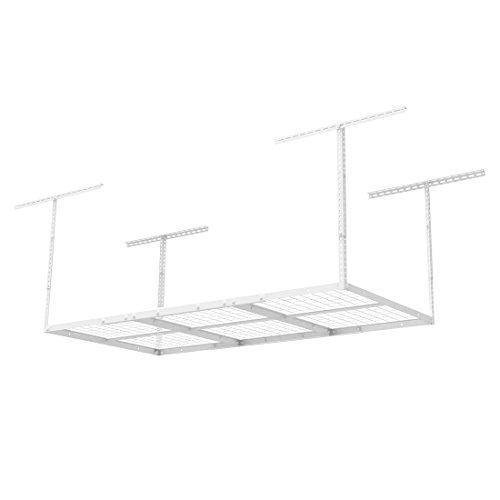 FLEXIMOUNTS 4x6 Overhead Garage Storage Adjustable Ceiling Storage Rack 72 Length x 36 Width x 40 Height 1-pack-white-4x6 ft