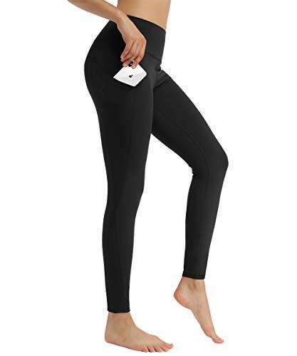 HAPYWER Damen Laufhose Sporthose Mit Taschen Lang Hohe Taile Sport Leggings Strech Yoga Tights Hose(Schwarz,S)