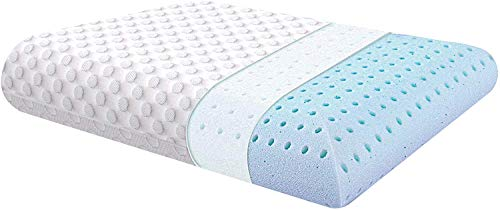 Milemont Ventilated Gel Memory Foam Pillow, Bed Pillows for Sleeping, Neck Support for Back, Stomach, Side Sleepers, CertiPUR-US, Standard Size