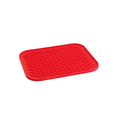 Multifunktions Küchen Arbeitsplatten Silikon Spüle Abtropfmatte Abtropfmatte Abtropfgestell Matte Pad Zubehör rutschfestem anti-hot Rechteck 30x 24cm rot