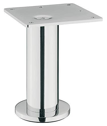 Gedotec Schrankfuß Metall Möbelfuß silber eloxiert - H10300 | Design Kommoden-Füße mit Höhe 100 mm | Fuß ohne Höhenverstellung | Sockelfuß mit Filzgleiter | 1 Stück - Moderner Couchfuß mit Platte