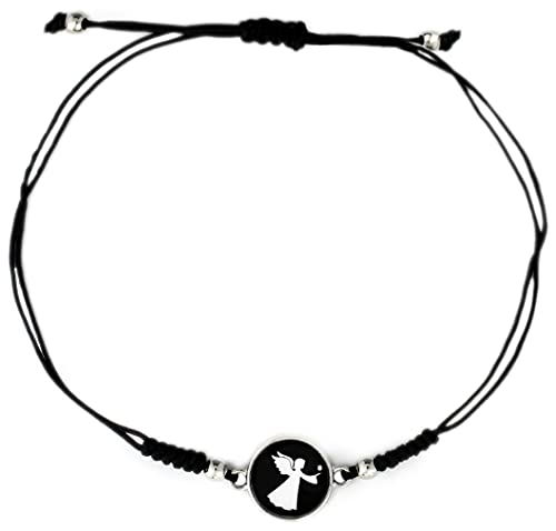 Damen Armband Stoff Handmade Schutzengel Engel Motiv Größenverstellbares Makramee Armbändchen Edelstahl Schwarz Weiß Silber