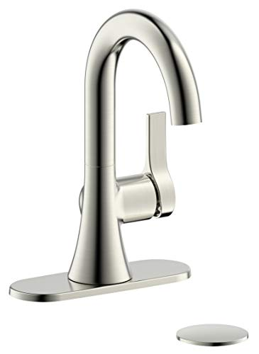 Fontaine Varenne, MFF-VARC1-BN, 4 in. Centerset Single-Handle Modern Bathroom Sink Basin Faucet Fixture Tap with Deck Plate and Pop-Up Assembly in Brushed Nickel