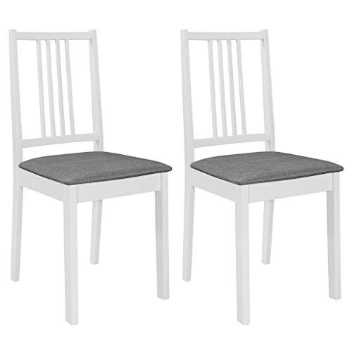 vidaXL 2X Gummiholz Massiv Esszimmerstuhl mit Polstern Holzstuhl Küchenstuhl Essstuhl Stuhl Wohnzimmerstuhl Stühle Restaurantstuhl Stuhlset Weiß