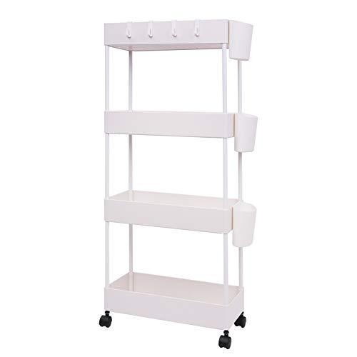 JAKAGO Carrito rodante de almacenamiento con diseño delgado, estante organizador de 4 niveles para espacios pequeños, práctica estantería móvil para despensa, cocina, oficina, cuarto de baño, Blanco