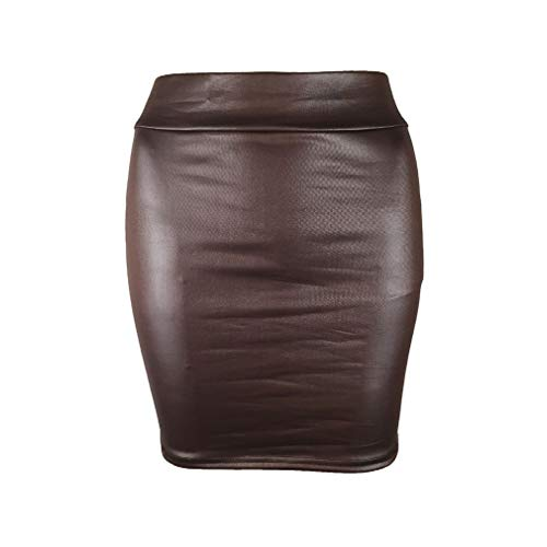 Kunfang Falda de Cuero de Imitación de la PU de Las Mujeres Falda Roja de Cintura Alta Faldas del Lápiz de la Falda de Bodycon de la Vendimia Clubwear Atractivo