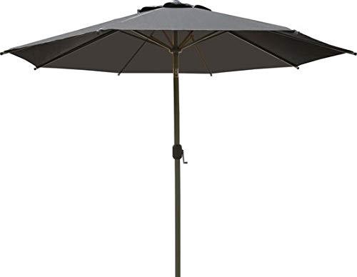 SORARA Palermo Rund Sonnenschirm Parasol | Grau | Ø 3m | Kurbel & Pendel