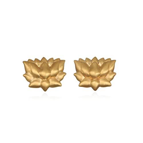 Satya Jewelry Women's Gold Lotus Stud Earrings, One Size