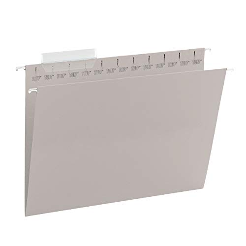 Smead TUFF Hanging File Folder with Easy Slide Tab, 1/3-Cut Sliding Tab, Letter Size, Steel Gray, 18 per Box (64092, Rod Color May Vary)