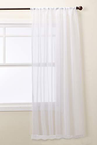 """No. 918 53566 Emily Sheer Voile Rod Pocket Curtain Panel, 59"""" x 95"""", White"""