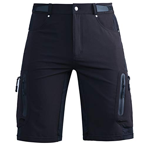 Cycorld MTB Hose Herren Radhose Wasserabweisend Mountainbike Kurz Outdoor Sport Fahrradhose Herren Shorts Herren Bike MTB Shorts, Schwarz Ohne Pad, 2XL/cm(Waist:84-88, Hip:101-105)