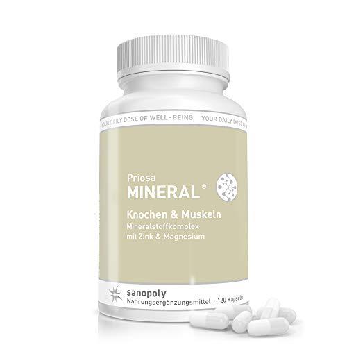 SANOPOLY Priosa® MINERAL 120 Kapseln I Für starke Knochen, gezielten Muskelaufbau & Stärkung des Immunsystems I Alle Mineralien + Spurenelemente + Mikronährstoffe I Mineralstoff-Mix I Vegan