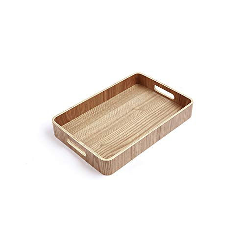 LERC Wooden Tray, Cheese Cake Tea Serving Dish Trays for Gastronomy & Household Also as a Food Pub Drinks Plate, with Handles
