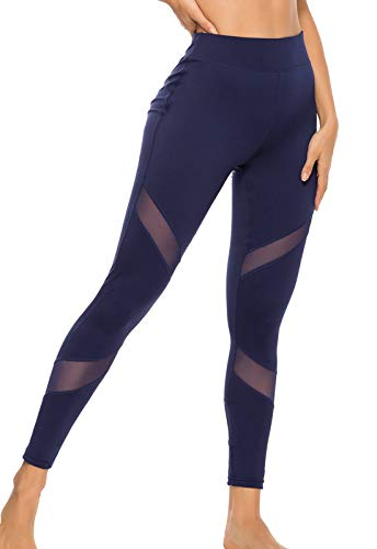 FITTOO Mallas Leggings Mujer Yoga de Alta Cintura Elásticos y Transpirables para Yoga Running Fitness A-Azul Oscuro Small