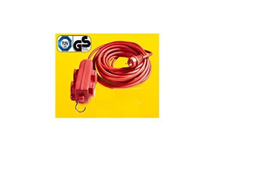 Steckdosenblock mit Haken und 4 Klappdeckeln für aussen IP44 Farbe: Rot Länge: 12m Steckdosenblock