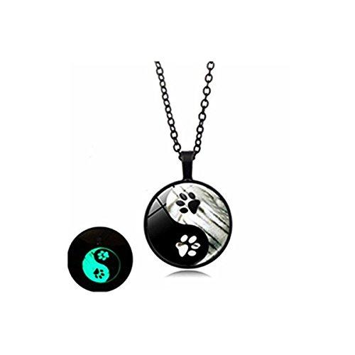 Collar luminoso con huella de perro negro y blanco Yin y Yang cristal cabujón colgante joyería...