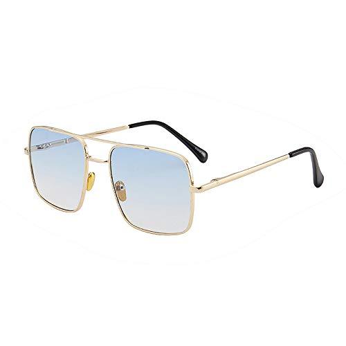 XUANTAO Gafas de Sol clásicas de Tendencia al Aire Libre Gafas de Sol de Montura Grande de Moda Lente de océano para Mujer Gafas de Sol Elegantes Montura Dorada Lente Doble Azul