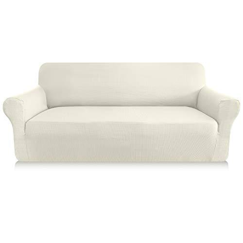 Granbest - Funda de sofá gruesa de 1 pieza, funda de sofá extensible de 3 plazas, antideslizante, revestimiento de sofá protector de muebles, tejido de licra jacquard (3 plazas), color blanco