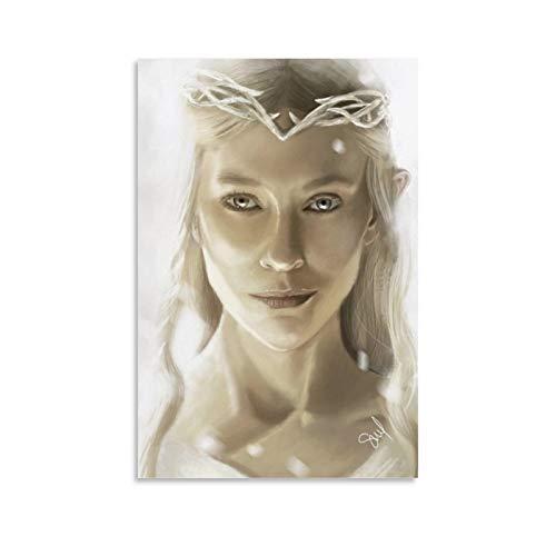 DRAGON VINES Mural moderno de pintura al óleo del Señor de los Anillos Galadriel Reina de los Elfos para el hogar y la oficina (60 x 90 cm)