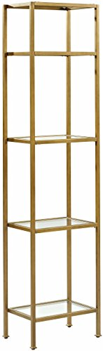Mejor Crosley Furniture Aimee Narrow Etagere Bookcase - Gold and Glass crítica 2020