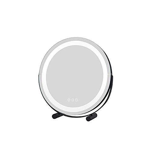 CZFSKCZ Specchio per Il Trucco a LED con Touch Screen Regolabile Luce LED, Base per casa Bagno Doccia e Viaggi, Colore: Beige, Dimensioni: 40 cm