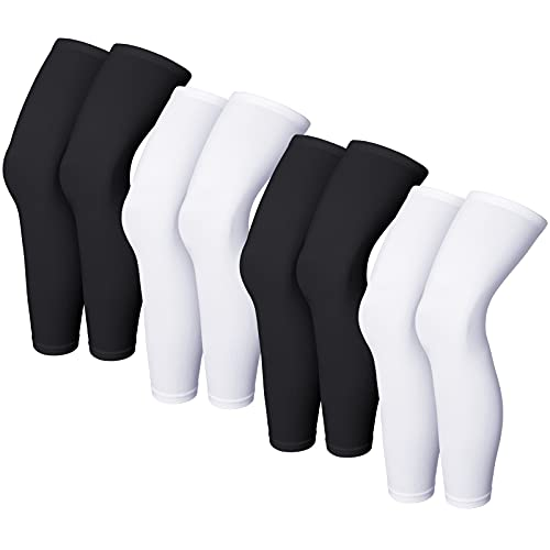 Compression Leg Sleeve Full Length Leg Sleeves Sports Cycling Leg Sleeves for Men Women, Knee, Thigh, Calf, Running, Basketball (4 Pieces,Black and White,L)
