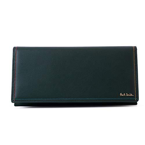 [名入れ可] ポールスミス Paul Smith 正規品 本革 長財布 かぶせ メンズ ブライト ストライプ レザー 牛革 ショップバック付き PSC025 (名入れなし, グリーン)