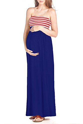 Beachcoco Women's Maternity Comfortable Maxi Tube Dress (S, Flag)