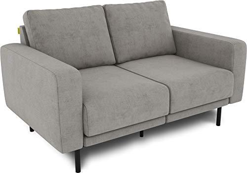 KAUTSCH Mette Zweisitzer Sofa für Wohnzimmer zerlegbar - Couch 2-sitzer- Polstersofa - B 150 cm - ohne Longchair, stahlgrau - mit Metallfüße