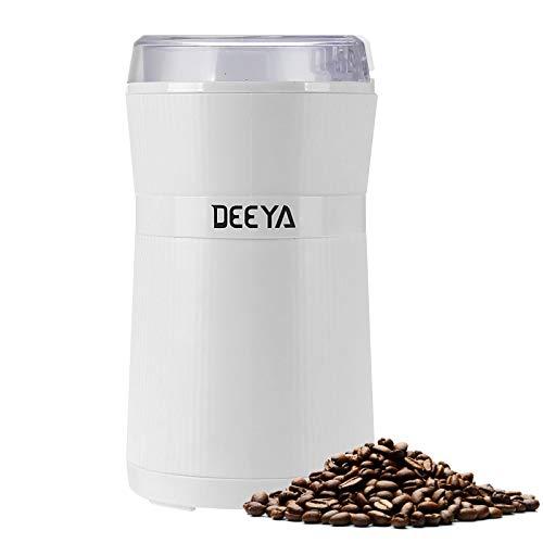 Kaffeemühle DEEYA Tragbare Elektrische Gewürz und Kaffee Mühle Leise 200W Mahlgrad Getreidemühle, Gewürzmühle für Kaffeebohnen, Pesto, Nüsse, Zucker, Gewürze, Getreide