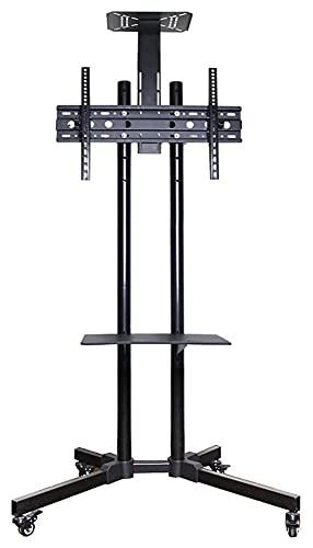 TabloKanvas Soporte de TV para carrito de TV con estantes para 32 a 65 pulgadas, capacidad para 50 kg de altura ajustable (color: negro)