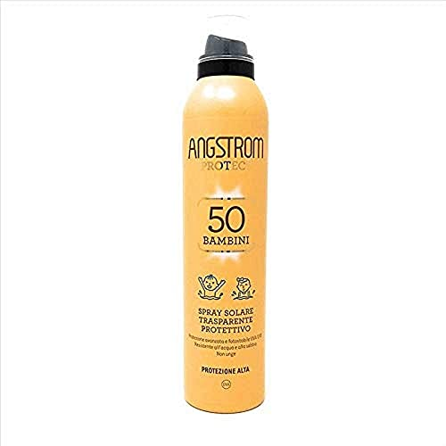 Angstrom Protect Spray Solare Trasparente, Protezione Corpo 50+ ed Intensificatore dell Abbronzatura, Anche su Pelle Bagnata, 250 ml