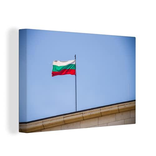 Leinwandbild - Die Flagge Bulgariens in den Straßen von Sofia - 120x80 cm