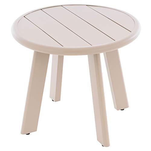 Nexos Beistelltisch Aluminium Farbe Beige Terrassentisch Balkontisch Veranda-Tisch 52,5x45 cm mit runder Tischplatte Abstell-Tisch