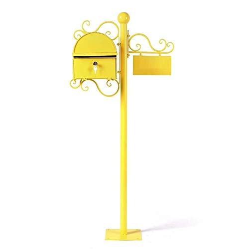 Afsluitbare mailbox Mailbox Brievenbus Post Box Amerikaanse Retro landelijke villa indicator met slot 2 belangrijke Europese stijl Patroon Roestvrij staal mailbox (Color : Yellow)