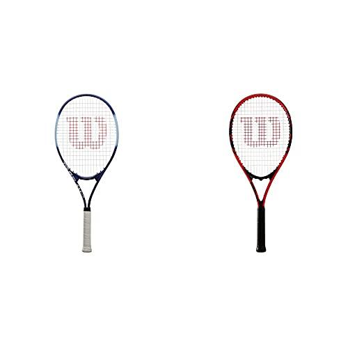 Wilson Raqueta de Tenis, Tour Slam Lite, Jugador recreativo y Principiante + Raqueta de Tenis, Federer, Unisex, Principiantes y Jugadores intermedios, Rojo/Negro, Tamaño de empuñadura L2
