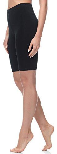 Merry Style Damen Kurze Leggings aus Baumwolle MS10-200 (Schwarz, XL)