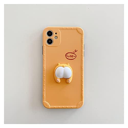 ZWQASP Netter Cartoon 3D Corgi Butt Pig Butt Telefon Kasten für iPhone 11 12 PRO MAX 7 8 Plus SE2020 x XR XS Mini Schöne Abdeckung (Color : A, Size : for iPhone 8)