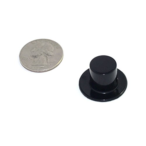 Mini Top Hats - Black Plastic - 24 x 15mm (or 0.94in. X 0.59in, 24/pcs) (Widest section is diameter of a quarter)