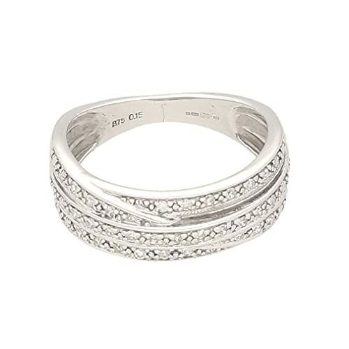 Anillo de oro blanco de 9 quilates para mujer con diamante de 0,15 quilates (talla L) 7 mm de ancho, anillo de lujo para mujer